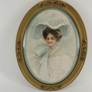 Other - PRICE DROP!  Vintage Oval Frame and Victorian lady